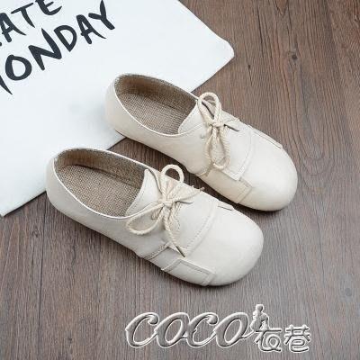 娃娃鞋 娃娃鞋手工軟底女鞋淺口低筒單鞋圓頭繫帶