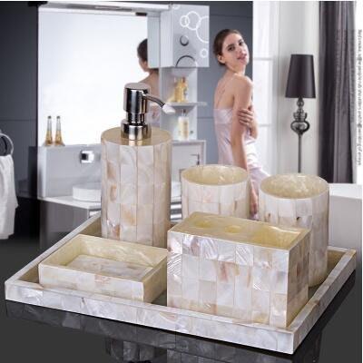 【優上】天然貝殼 歐式洗漱套裝 浴室衛浴五件套「白色天然貝殼六件套直角托盤」