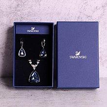 【SWAROVSKI】施華洛世奇►Virtuous 海水藍水晶項鍊耳環套組►全新現貨免運費