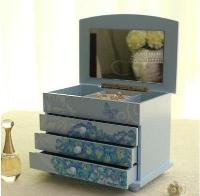 {興達1808}木質首飾盒 公主歐式收納盒首飾品盒戒指收納櫃木製戒指盒「703L藍色」TCQ