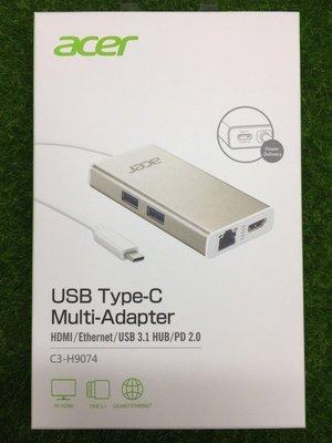 宏碁原廠USB Type-C多功能擴充卡 HUB HDMI+RJ45+USB3.1 C3-H9074 JCA374