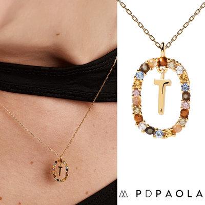 PD PAOLA 西班牙時尚潮牌 金色T字母項鍊 彩寶橢圓形項鍊 925純銀鑲18K金