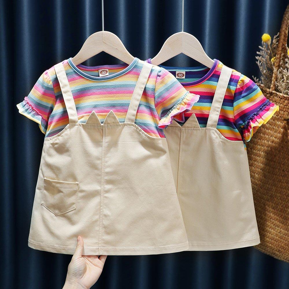 【溜。溜。選物】童裝 春夏 假兩件小貓咪彩虹洋裝