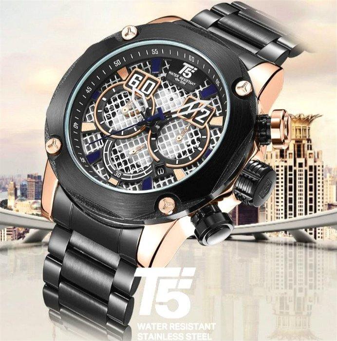新款 T5 美國潮牌 霸氣網格設計面大錶盤 真三眼計時功能 日期 不銹鋼帶個性帥氣男神石英錶 送禮首選【S & C】