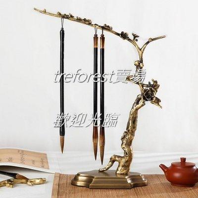 1FTII 創意梅花筆掛花朵掛針筆架毛筆架手工做舊銅材質中式現代文房四寶筆墨紙硯國畫書法收納