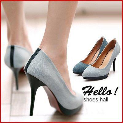 跟鞋*鞋館Shoes hall*【A1532】春夏百搭素面牛仔尖頭細跟高跟鞋~2色~