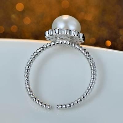 鑲鑽戒指 925純銀開口戒-時尚甜美氣質珍珠七夕情人節生日禮物女飾品73kd43[獨家進口][巴黎精品]