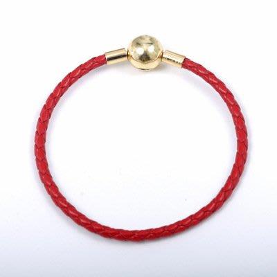 凱莉代購 S925 純銀 Pandora LOGO 金色扣頭 個性男女款單圈牛皮編織繩手鍊  預購特價