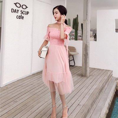 格格家 夏裝新款優雅性感一字肩喇叭袖釘珠修身高腰A字飄逸連衣裙