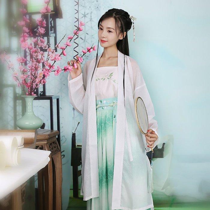 碧風 傳統日常漢服女間色漸變印花兩片式齊腰清倉特價夏