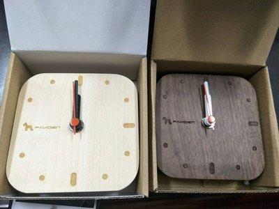 (W SHOP)促銷價 帕維登PAVIDEN 北歐 風掛鐘方形 核桃木 楓木 時鐘 壁鐘 靜音 可立 可掛 TM-012