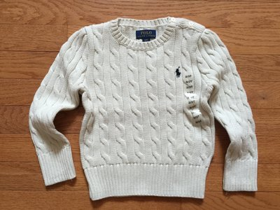 【Polo Ralph Lauren】RL 小女童 針織毛衣 小馬刺繡 麻花針織毛衣 長袖毛衣 針織衫 米白色