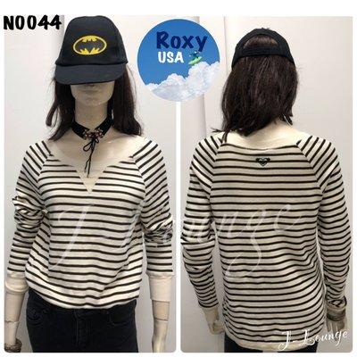 N0044 全美國🇺🇸衝浪品牌Roxy純棉米黑條紋踢美式休閒stripped t-shirt J-Lounge