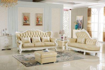 【大熊傢俱】A21 新古典 皮沙發 歐式沙發 復古沙發 布沙發 客廳組椅 木製沙發 美式沙發