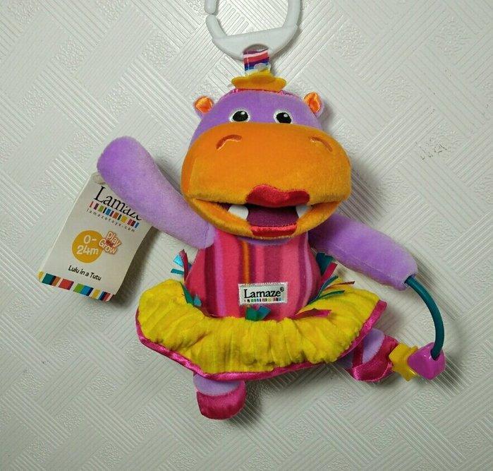 ☆奇奇娃娃(CP)☆Lamaze品牌,跳芭蕾舞的粉紅色河馬車掛布玩具(新款)~290元