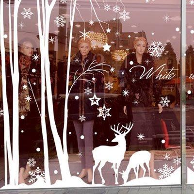 小妮子的家@叢林裡的鹿聖誕雪花壁貼/牆貼/玻璃貼/磁磚貼/汽車貼/家具貼