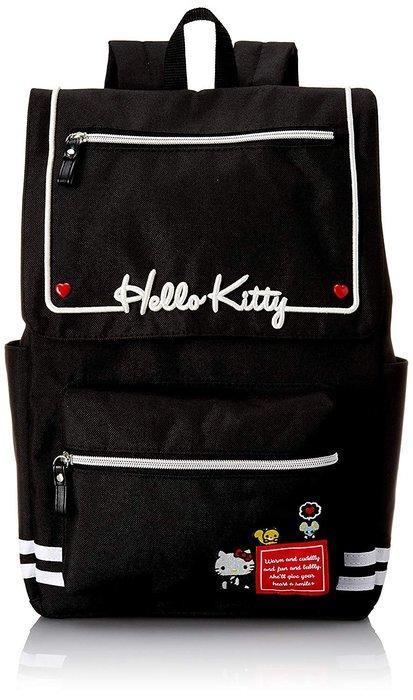 AQI BUY SANRIO 三麗鷗 凱蒂貓 Hello Kitty 黑色 水手造型 大容量 後背包 日本正版