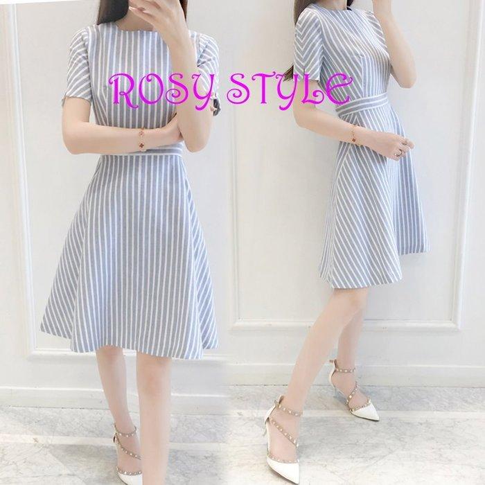 【ROSY STYLE】~夏季韓版短袖連身裙, 水藍條紋洋裝 M~3XL,E490, 如圖4實拍