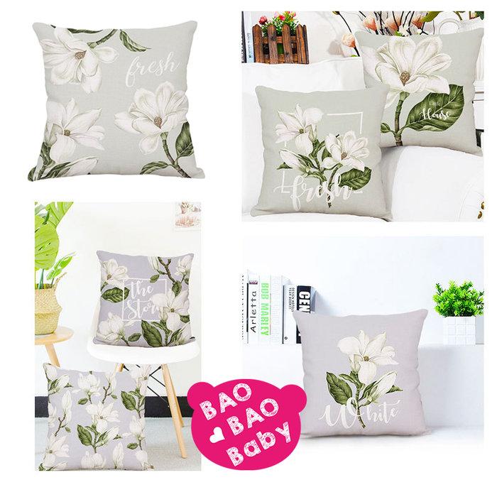 【寶貝日雜包】玉蘭花抱枕套 花朵抱枕套 沙發抱枕 靠枕 玉蘭花抱枕 枕套 方型抱枕