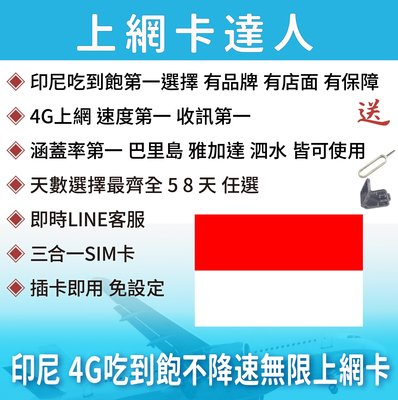 5天 上網卡 高速4G 吃到飽 不降速 印尼 巴里島 峇里島 雅加達 泗水 即插即用免設定 有效期限至03/31