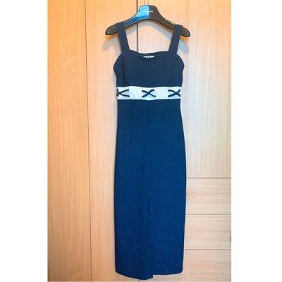 Dior style navy blue onepiece midi dress skirt blouse top shop 外國超靚典雅女神款寶藍色連身裙