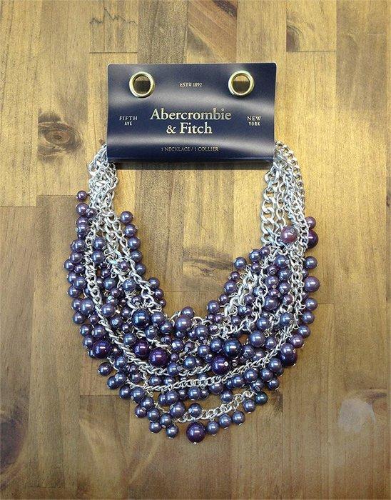 美國百分百【全新真品】Abercrombie & Fitch 項鍊 頸環 飾品 串珠 AF 珠珠 麋鹿 銀紫 H885