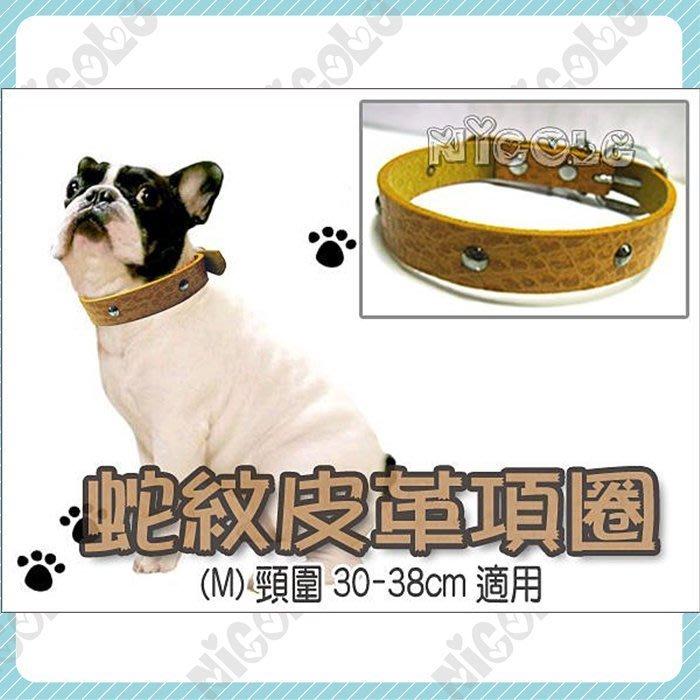 *Nicole寵物*潮流蟒蛇紋鉚釘皮革頸圈-中,項圈,精品,時尚 (3尺寸可選)買三免運!