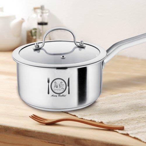 AnnyRabbit 安妮兔18cm不鏽鋼複底單把鍋 附鍋蓋 小火鍋 湯鍋 燉鍋 獨享鍋 牛奶鍋 【CocoLife】
