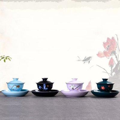 手工描金蓋碗碗托景德鎮青花瓷大號茶備陶瓷三才碗杯敬茶碗功夫茶具