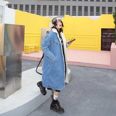 kuosey UN 2019冬裝新款寬松韓版休閑中長款牛仔棉衣羊羔毛棉服加厚外套