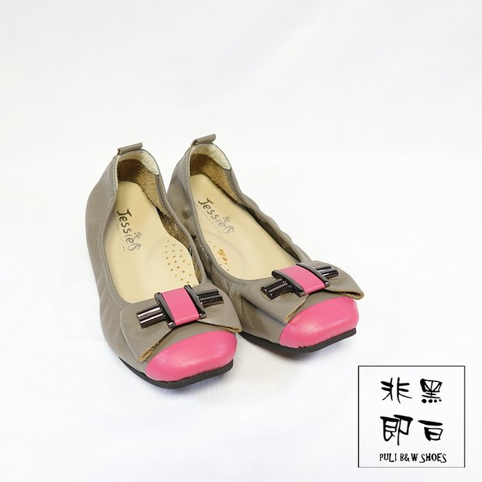 【非黑即白】#零碼#MIT舒適真皮柔軟女娃娃鞋 平底鞋 低跟鞋 灰桃 310358