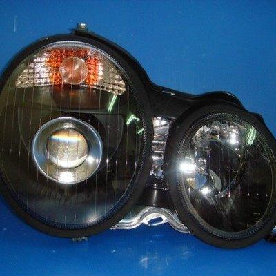 小亞車燈※ 全新 BENZ W210 黑框 魚眼 大燈 特價中 免運費 貨到付款