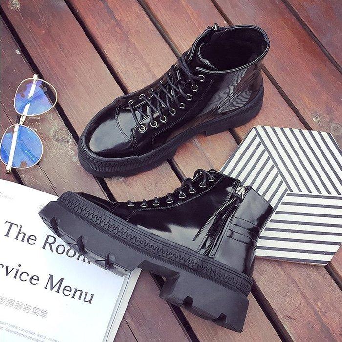 FINDSENSE品牌 歐美 女 時尚 潮 休閒 綁帶 馬丁靴  黑色