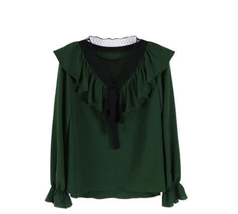 一米陽光荷葉邊喇叭長袖雪紡衫女v領蕾絲拼接蝴蝶結系帶打底上衣
