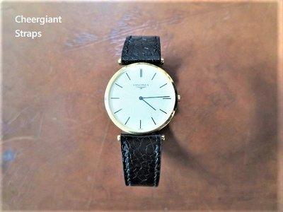 浪琴錶黑色鴕鳥皮錶帶墊厚款式 巧將手工錶帶 LONGINES ostrich strap watch band MIT