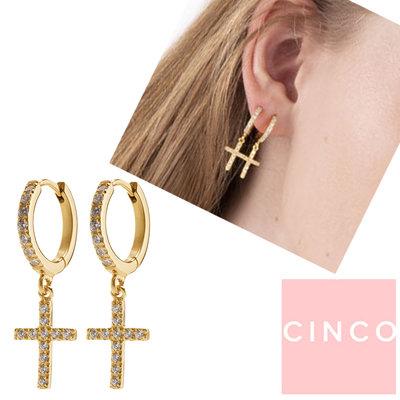 CINCO 葡萄牙精品 Sascha earrings white 鑲鑽十字架耳環 白色X金色