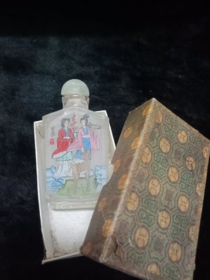 早期收藏 - 玻璃 琉璃 內畫仕女圖 鼻煙壺. - 9 公分高 - 501元起標    F-箱