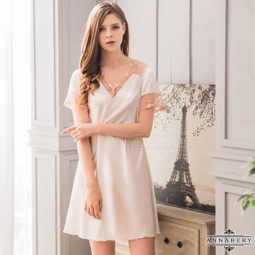【Pretty Maid】大尺碼 Annabery 韓版甜美居家風白色短袖連身睡衣 NY18020022