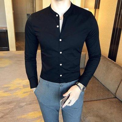 長袖襯衫 英倫立領修身男士商務休閒長袖素面襯衫 簡約純色緊身精神小伙襯衫