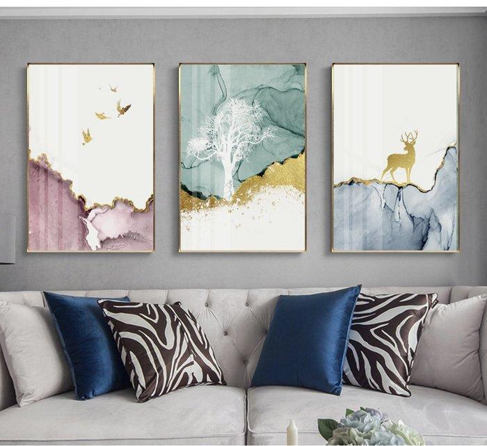 北歐風抽象現代簡約形意彩色樹鹿鳥裝飾畫高清微噴打印壁畫