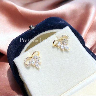 卡哇伊~Pressing Love甜美氣質鋯石耳環女通體S925純銀超閃微鑲鋯石耳飾