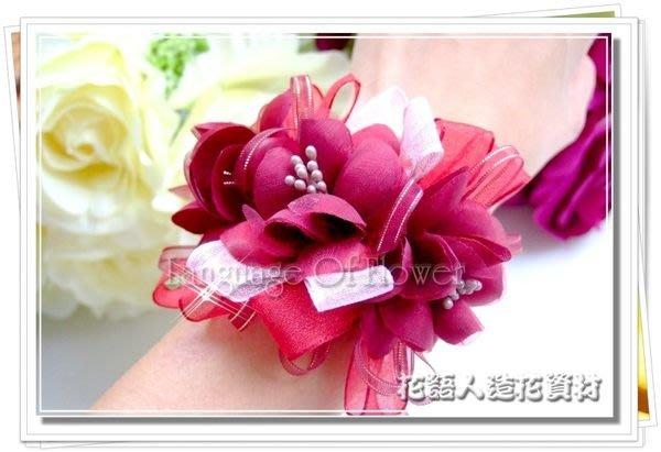 ◎花語人造花資材◎*婚禮圓滿花手挽花禮盒-酒紅*新娘伴娘~可加價裝LED~飾品