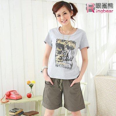 短褲--夏日穿著中腰羅紋抽繩褲頭綴釦短褲(藍.咖綠M-6L)-R23眼圈熊中大尺碼