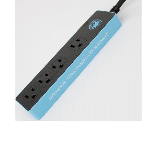 ☆. 高雄市耗材填充供印站 .☆ SADES 1切4孔 1.5米 大電流電競延長線(黑藍)