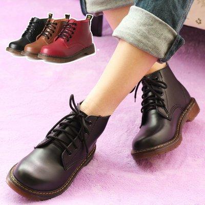經典必備款 韓國明星流行同款 英倫風二層牛皮短筒馬丁靴 復古女短靴 女靴子 女鞋(8318現貨+預購)
