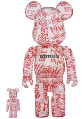 ++全新 Be@rbrick Bearbrick 400% + 100% Coca Cola x Atmos Clear Body