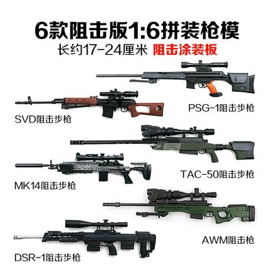4D槍模6款1:6涂裝板SVD拼裝槍模型MK14懷舊兵人武器AWM阻擊槍模型