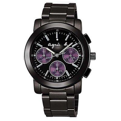 agnes b.紫三眼計時腕錶-IP黑/紫圈/38mm(V654-0AE0鐵)