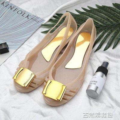 夏新款果凍鞋水晶平底涼鞋內增高沙灘鞋方扣坡跟塑膠出口女鞋