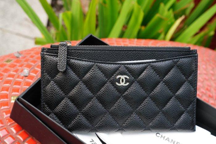Chanel A81254 O Miscellaneous Boy 荔枝紋拉鍊卡片夾 黑